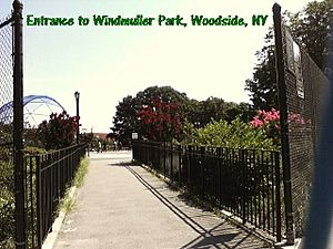 Entrance to Windmuller Park, Woodside, Queens, NY