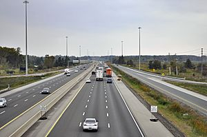 Highway 401 from Wellington Road in London, Looking West Towards Highway 402