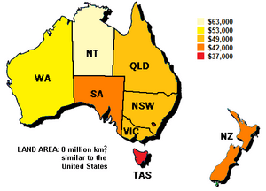 Map of median household income in Australia