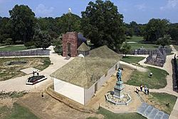 Old and new churches at Jamestown