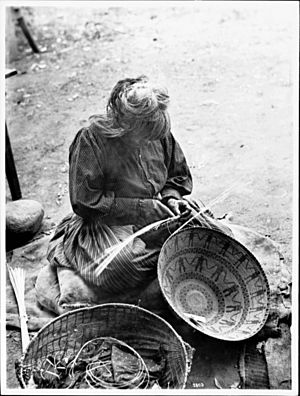 Yokut Indian woman basket maker, Tule River Reservation near Porterville, California, ca.1900 (CHS-3803)