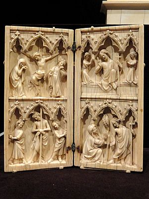 Diptych, Scenes from the Passion and Afterlife of Christ, about 1330-1350 AD, French, ivory - Cleveland Museum of Art - DSC08560