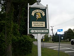 Sign for the Long Island Maritime Museum, West Sayville's primary attraction