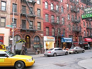 Macdougal Street and Minetta Lane street scene NYC