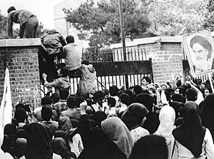 Iran hostage crisis - Iraninan students comes up U.S. embassy in Tehran