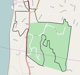 Street map showing district boundaries