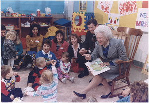 "Mrs. Bush and Missouri Governor John Ashcroft attend a ""Parents as Teachers"" parent-child group at the... - NARA - 186437"