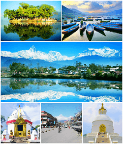 (From left) Top: Tal Barahi Temple, Boats in Phewa Lake; Center: View of the Annapurna Range from Pokhara; Bottom: Bindhyabasini temple, Pokhara Town, i Stupa, Pokhara in Pokhara.