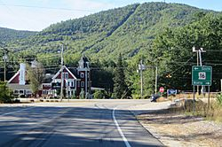 Intersection of NH 16 and NH 41 in West Ossipee. Nickerson Mountain, site of former Mt. Whittier Ski Area, rises in background.