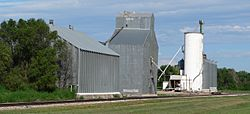 Grain elevators at southern edge of Hamlet