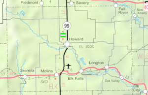Map of Elk Co, Ks, USA
