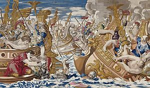 Tapestry showing the Sea Battle between the Fleets of Constantine and Licinius-cropped