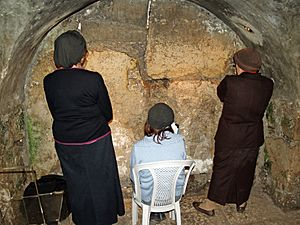 Women praying in the Western Wall tunnels by David Shankbone