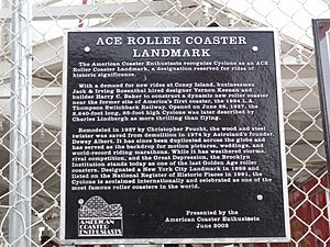 Coney Island Cyclone ACE Coaster Landmark plaque