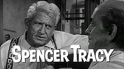 Henry Drummond (left), a fictionalized version of Clarence Darrow, as portrayed by Spencer Tracy in Inherit the Wind.