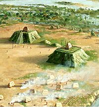 Mississippian Village with two mound plazas