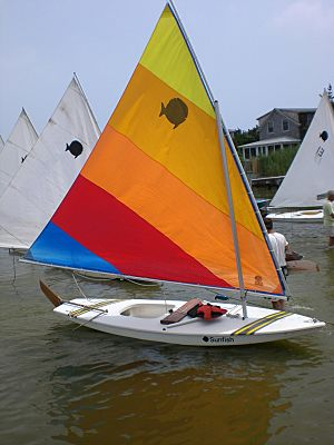 Sunfish rigged for sailing
