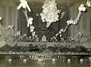 The Brisbane City Hall Ballroom is decorated for a Queensland Police Ball, circa 1965