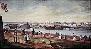 View of Kingston Naval Dockyard from Fort Henry 1820s