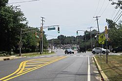 Intersection of Newman Springs Road (CR 520) and Phalanx Road in Lincroft