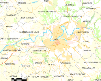 Map of the commune of Albi