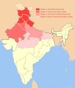 North India Zonal Map 14July2013.png
