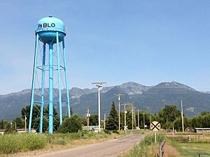 Pablo, Montana blue water tower July 2013