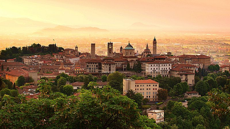 Sunrise at Bergamo old town, Lombardy, Italy