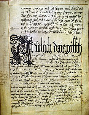 A page from Carmarthen Borough's Book of Ordnances, 1582