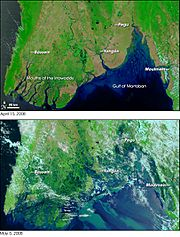 Cyclone Nargis flooding before-and-after