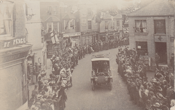 Edward VII driving through Bishops Stortford, October 1905