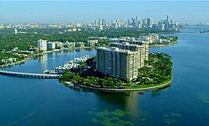 Grove Isle lies in Biscayne Bay, Miami, Fl.