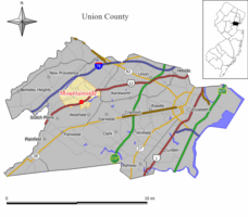 Map of Mountainside in Union County. Inset: Union County highlighted in the State of New Jersey.