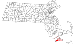Location in Dukes County in Massachusetts