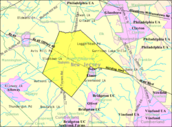 Census Bureau map of Upper Pittsgrove Township, New Jersey