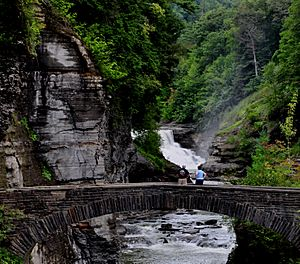 Lower Fall & Stone footbridge at Letchworth State Park, New York, USA