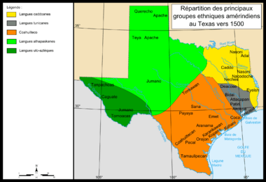 Map of Indians Texas 1500