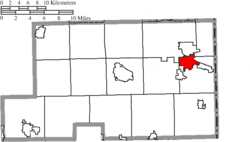 Location of Struthers in Mahoning County