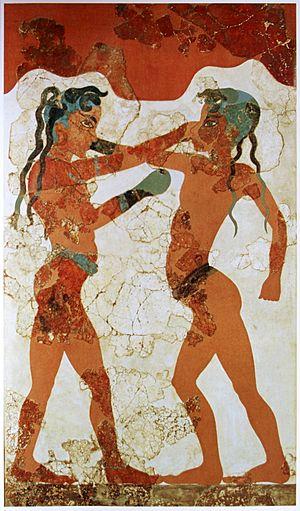 Young boxers fresco, Akrotiri, Greece