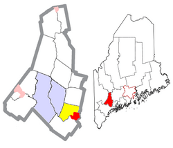Location of Lisbon Falls (in red) in Androscoggin County and the state of Maine