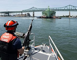 Coast Guard Station Boston on security patrol in Boston Harbor (29850519022)
