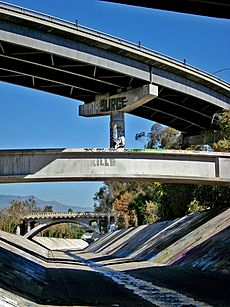 Curving ramp supported over Arroyo Seco