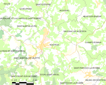 Map of the commune of Nontron