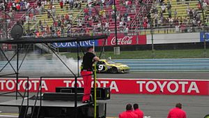 Marcos Ambrose Celebrating winning the 2012 Finger Lakes 355 at the Glen