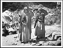 "Two Havasupai Indian women with ""Kathaks"" on their backs, ca.1900 (CHS-3373)"