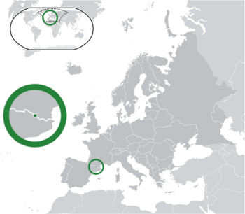 Location of  Andorra  (green)on the European continent  (dark grey)  —  [Legend]