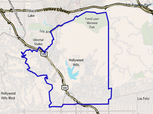 Map of the Hollywood Hills district of Los Angeles
