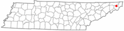 Location of Hunter, Tennessee