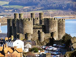 Conwy Castle and car park from Town Walls - geograph.org.uk - 1723358