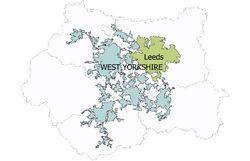 A map of West Yorkshire showing the Leeds urban subdivision of the West Yorkshire Urban Area (which is made up of five councils) coloured green and the rest of the Urban area coloured blue-grey